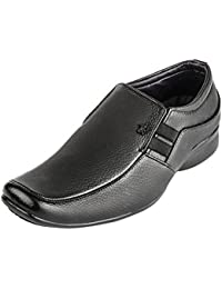 Foot N Style Men's Black Synthetic Leather Slip On Formal Loafers