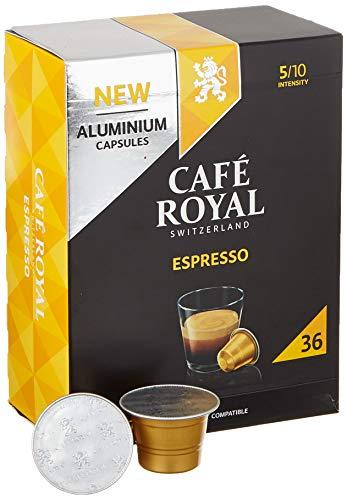 Café Royal 36 Espresso Nespresso (R)* kompatible Kapseln aus Aluminium - Intensität 5/10 - Großpackung 36 Kaffeekapseln - UTZ-zertifiziert - Kompatibel mit Nespresso (R)* Kaffeemaschinen