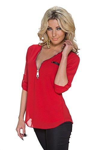 Fashion Damen Bluse Tunika Shirt aus Krepp Gewebe mit Spitze 3/4 Ärmeln und großem  Zipper Rot