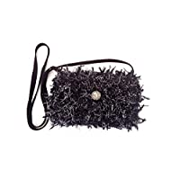 Shaggy shoulder bag key holder, Small evening bag, Silver and black fuzzy pouch