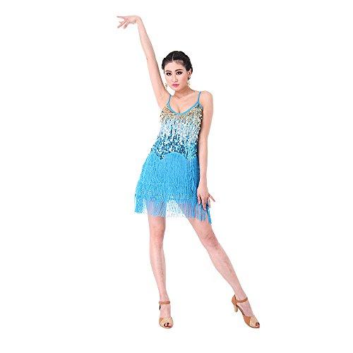 SymbolLife Fransenkleid mit Pailletten Damen Spaghetti Gradient Tanz Damen Hochzeitkleid Tanzkleid Partykleid Mini Charleston kleider Kleid Darbietungen Tanzkostüme für Karneval, Hellblau (Tanz Kostüme Für Hip Hop Wettbewerb)