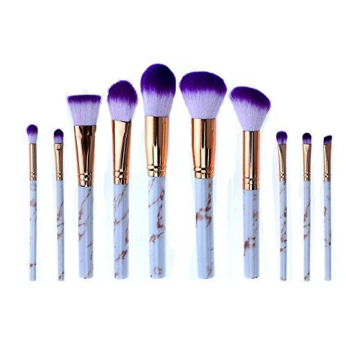 AKAAYUKO 10PCS Kit de Pinceau Maquillage Professionnel Blush Pinceau Poudre Brush Fard à paupières Sourcils -Pourpre doré