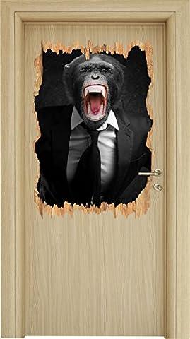 rugissant singe dans un noir de costume / percée en bois blanc aspect 3D, la taille de la vignette mur ou de porte: 92x62cm, stickers muraux, sticker mural, décoration
