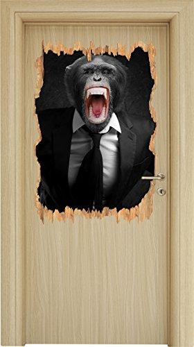 brüllender Affe im Anzug schwarz/weiß Holzdurchbruch im 3D-Look , Wand- oder Türaufkleber Format: 92x62cm, Wandsticker, Wandtattoo, Wanddekoration