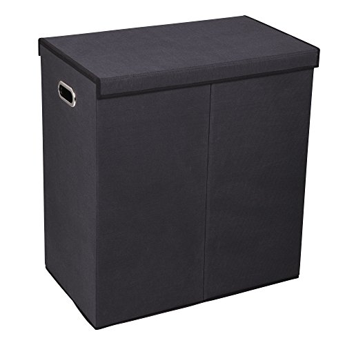 Household Essentials Hamper Wäscheservice Sorter mit Magnetverschluss, Double, Schwarz