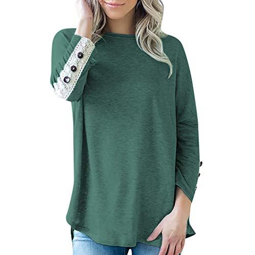 Damen Langarm Rundhalsausschnitt Sweatshirt T Shirt Weit Tunika Langarmshirts Damen Mode