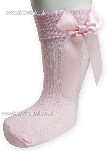 Baby Girls Infants Ribbed Knee Length Socks W stitched Bow From NB To 18 Months S41 (NB-3 Months, Pink)