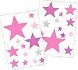 25 Sterne Wandtattoo fürs Kinderzimmer - Wandsticker Set - Pastell Farben, Baby Sternenhimmel zum Kleben Wandaufkleber Sticker Wanddeko - Wandfolie, Kleinkinder, Erstausstattung auf Rauhfaser Pink