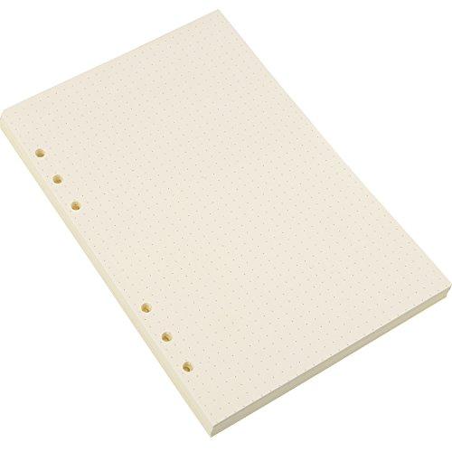 A5 6-Ring Binder Planer Refill Papier Dot Grid Refills für Zeitschriften Notizbuch Tagebücher Einsätze, 8,35 x 5,59 Zoll (200) - 6x6 Binder