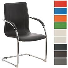 CLP Silla de conferencia / silla para visitas MELINA V2, silla con reposabrazos, revestimiento de cuero sintético, asiento acolchado negro