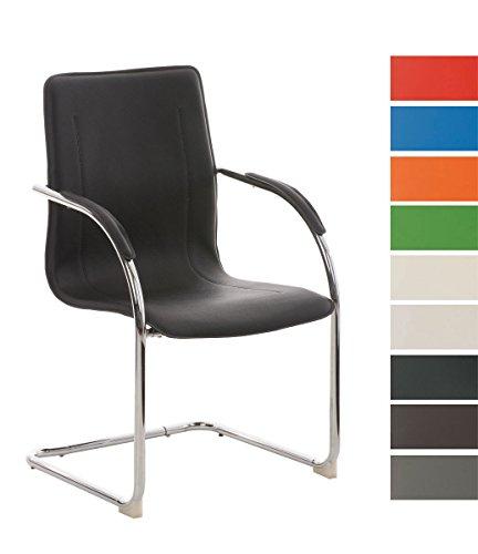 CLP Sedia Cantilever con braccioli MELINA V2, sedia per sale conferenza / sedia per gli ospiti con seduta ben imbottita nero