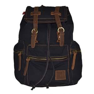 Estarer Vintage Canvas Backpack School Bag Travel Backpack for Teenagers -Black