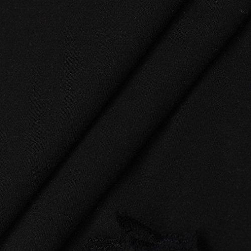 Donna Tuniche Parti Allentate Abito Di Del Merletto Manadlian Senza Formato Di Maglia Superiori Più Donne Maniche Nero Camicia Estate dEBfxqnAwd