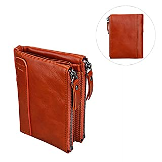 Unisex Asnlove Premium PU Leather Wallet/Purse with Anti-Theft and Double Zip Purse, Mini Coin Wallet, Credit Card Holder, Slim Wallet, Credit Card Case Style#2