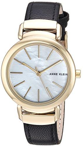 Anne Klein Women's AK/2752MPBK Gold-Tone and Black Leather Strap Watch