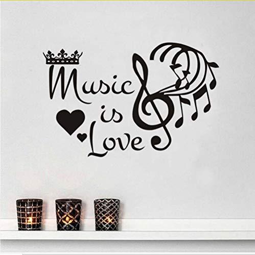 Zfkdsd Musik Ist Liebe Krone Music Notes Aufkleber Inspirational Quote Home Wandtattoos Wandbilder Heißer Verkauf Tapete Für Mädchen Zimmer 59 * 38 Cm