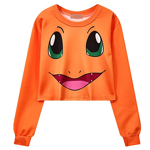 �dchen, Damen Cartoon Pikachu Pullover Bauchfrei Smiley Langarm Sweatshirt Sport Kurz Crop Tops Oberteile Sweatjacke Shirts Hemd Bluse (Orange, Einheitsgröße) ()
