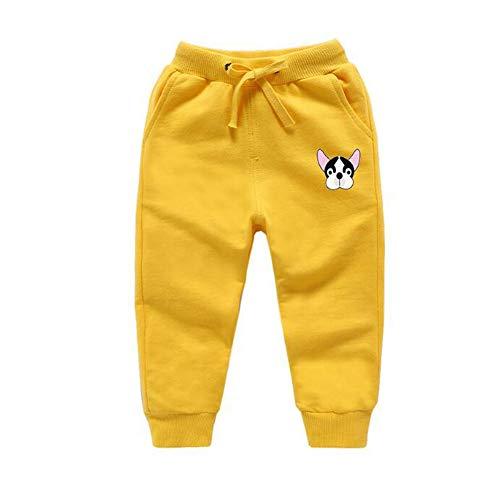 JZLPIN Unisex Kinder Jogginghose Elastisch Taille Baumwolle Lange Hose Baby Bottoms Gelb 110cm