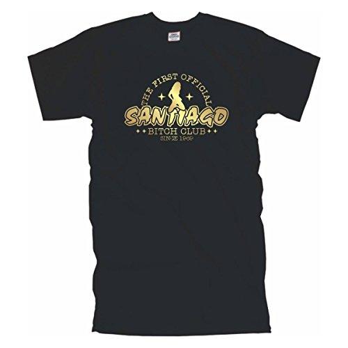 Santiago Bitch Club - bedrucktes schwarzes Männer T-Shirt mit coolem Motiv, Funshirt witziges Geschenk, Baumwolle auch große Größen bis 12XL (BL050) Schwarz