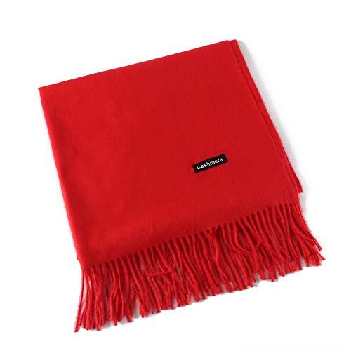 MMYOMI Frauen Männer Liebhaber Unisex glatt Kaschmir Schal 100% super weiche Plaid solide Pashmina Wrap Schal Schal (Rot) (Wraps Schal)