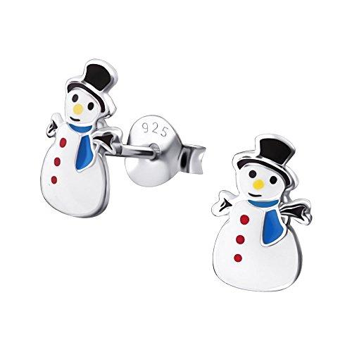 s Kinder-Ohrstecker Ohrringe Kinderschmuck Schneemann Weihnachten aus Sterling Silber 925 ()