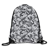 FAFANIQ Gray Army Military Camo Drawstring Bag for Traveling Or Shopping Casual Daypacks School Bags