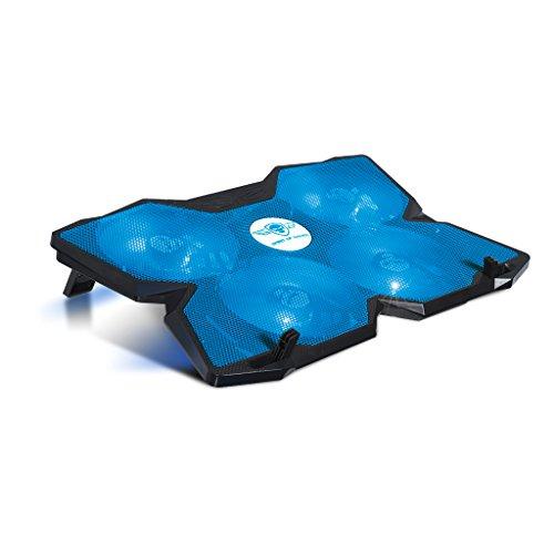 SPIRIT OF GAMER AIRBLADE 500 BLUE : Refroidisseur pour PC PORTABLE 13-17'' / 4 ventilateurs silencieux de 120 mm à leds bleus + variateur de vitesse / 3 positions d'inclinaison / câble nylon tressé