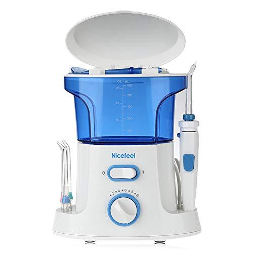 KLI Wasserflosser Dental Munddusche für Zahnspange Nosal Cleaner Clean mit 10 regulierbarem Wasserdruck, 600 ml Kapazität, 8 Jet-Tips, für Familien -