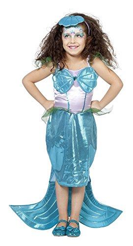 (Meerjungfrau Nixe Kostüm + Diadem Kinder Gr. 104 116 128 140 (128))