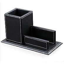 Desktop KINGFOM™ Creative-Astuccio portapenne & biglietti da visita con supporto, in pelle sintetica, struttura in legno &