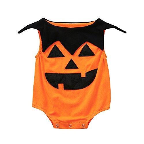 OHQ Baby Mädchen Jungen Kürbis Drucken Spielanzug Overall Halloween Outfits Orange (Orange Halloween Overall)