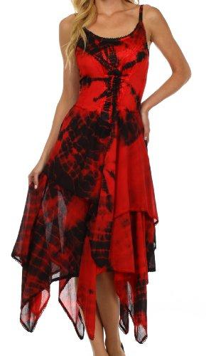 Sakkas Annabella Vestido tipo corsé con dobladillo de pañuelo-RedBlk-OSF