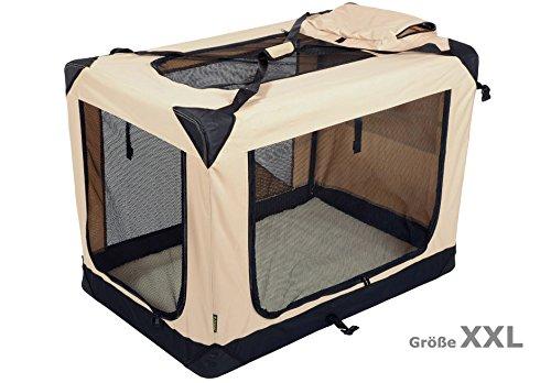 Jespet Hundetransportbox faltbar - soft Transportbox für Tiere– klappbare Transporttasche Hunde, Katze & Kleintier XXL Beige