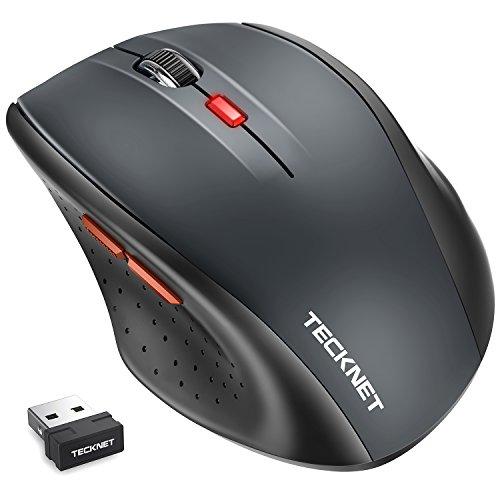 Ratón inalámbrico TeckNet Classic 2.4G (Óptico, 5 Niveles DPI, 2400/2000/1600/1200/800 DPI) Wireless Mouse, 6 botones, 18 meses duración de batería, Nano receptor