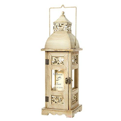 Holz Laterne zur Hochzeit -Personalisiert mit Namen und Datum - Motiv Ringe - romantisches Windlicht - Gartenlicht - Geschenk-Idee zur Hochzeit - Individuelles Hochzeitsgeschenk