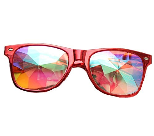 TENGGO Kaleidoskop Steampunk Rave Glasses Diffraction Rainbow Crystal Glasses-Rot