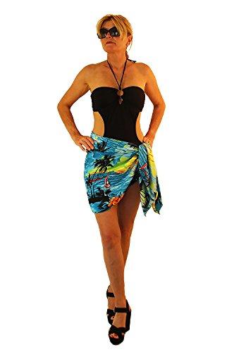 Funky Hawaii Sarong Kurz, Surf, Türkis
