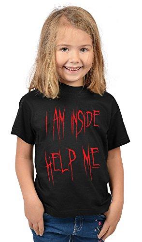 Kinder Halloween T-Shirt - Kindershirt Halloweenparty : I Am Inside Help Me - Kinder Tshirt Sprücheshirt Blut Gr: XS = 110-116