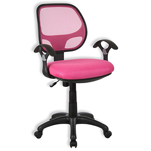 Kinderdrehstuhl Schreibtischstuhl Drehstuhl Bürodrehstuhl COOL, 5 Doppelrollen, Sitzpolsterung, Armlehnen, in pink