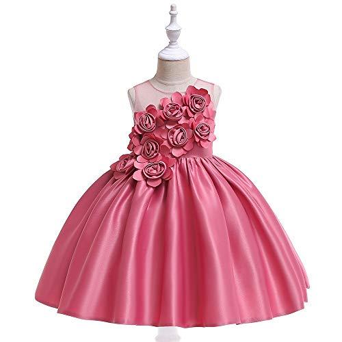 Prinzessin Kostüm für Mädchen Flower Girl Ball Gown Mädchen Mesh Patchwork ohne Ärmel Blume rosa Kleid formale Pageant Solid Ruffle Satin Princess Dress Compleanno Party Dress Kinder Weddi 130