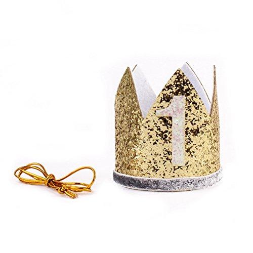 Baby Girl Sparkle Tiara Prinzessin Stirnband Party Hut Hairband Haar Zubehör Foto Prop (Golden) ()