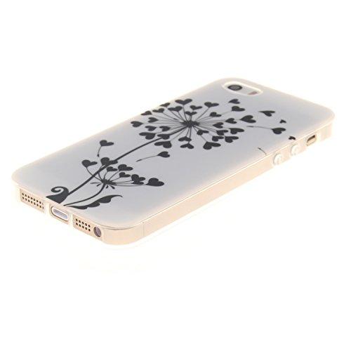 Apple iPhone SE,iPhone 5/5S Silicone TPU en Coque de téléphone , Etsue Nuit Luminous Glow Series Transparent Case Soft Phone Case Cover pour Apple iPhone SE,iPhone 5/5S, [Pissenlit] Motif de Ultra-min Pissenlit,Cœur