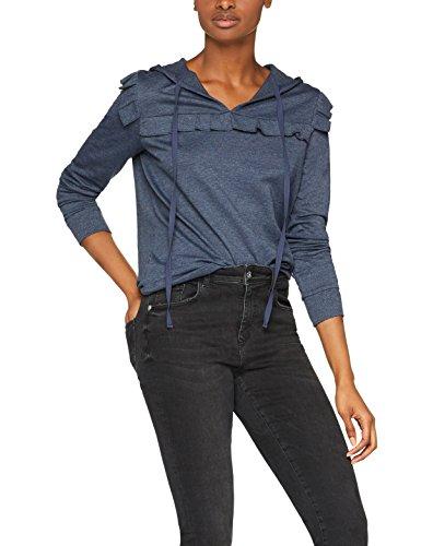 FIND Damen Kapuzenpullover mit Rüschen, Blau (Navy Marl), Medium