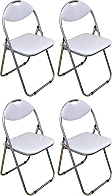 Harbour Housewares White Padded, Folding, Desk Chair - Pack of 4 - cheap UK light shop.
