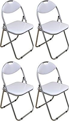Harbour Housewares White Padded, Folding, Desk Chair - Pack of 4 - cheap UK light shop.