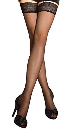 Gatta Michelle 40den - klassisch elegant halterloser Strümpfe - Stay-Ups - Größe 3-4 / M-L - Schwarz (Ups Satin Stay)