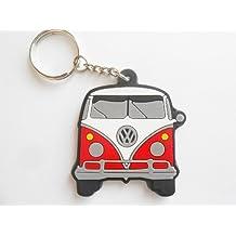 Llavero de goma de VW Combi, color rojo y blanco
