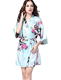 Free Fisher Mujer pijama ropa de dormir Corto satén albornoz kimono Bata de Pavo & Flores, Azul claro S