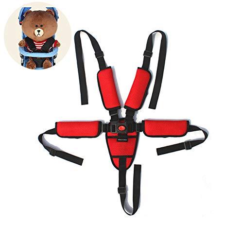 kakakooo 1PC Universal-Baby-Sicherheitsgurt 5-Punkt-Gurt Adjustable Kid Safe-Bügel Reise Clip-Bügel für Kinderwagen Hochstuhl Pram Buggy Kinder Kinderwagen (rot)