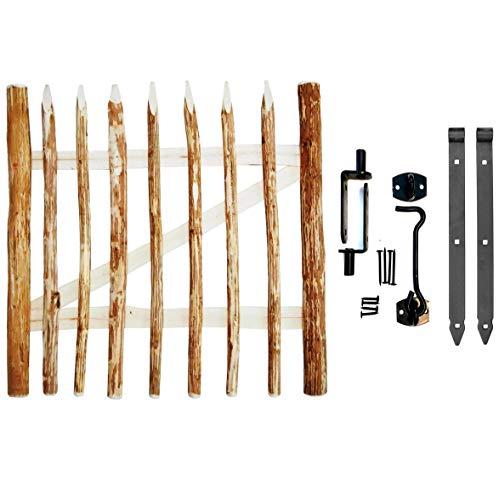 BOGATECO Gartentor Haselnuss   Breite: 100cm   Höhe 120 cm   Abstand zwischen den Zaunlatten 6-7 cm   Zauntor aus Holz für Staketenzaun   mit Scharniere inkl. Zubehör   Türöffnung nach Links